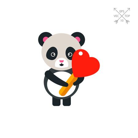 Cute Panda with Heart Lollipop Icon Illustration