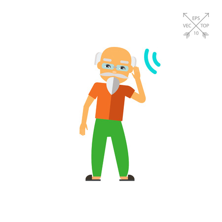 Deaf old man trying to hear sound. Disability, disease, aid. Deafness concept. Can be used for topics like disability, care, medicine. Ilustração