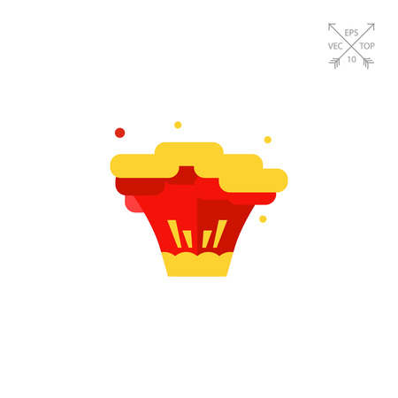 an outburst: Explosion flat icon Illustration
