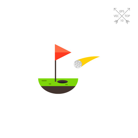 Golf Ball Falling into Hole Icon Illustration