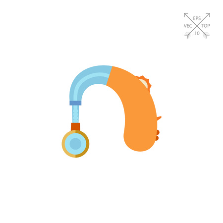 impaired: Hearing Aid apparatus, flat icon
