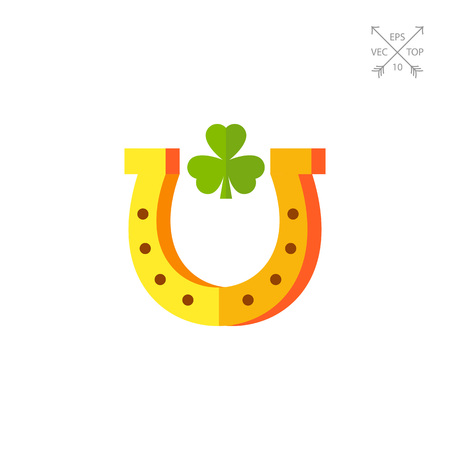 trifolium: Horseshoe With Trefoil Inside Icon
