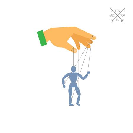 marioneta de madera: La mano del hombre con la marioneta marioneta Vectores