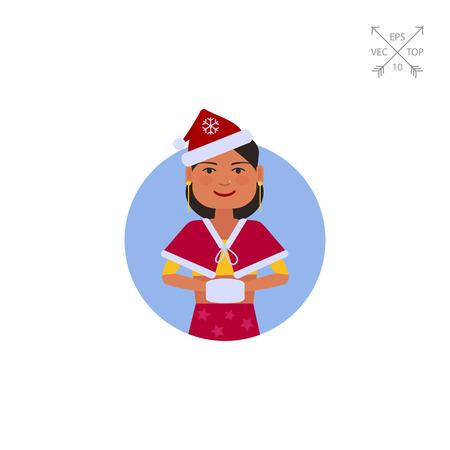 muff: Indian teenage girl with fur muff