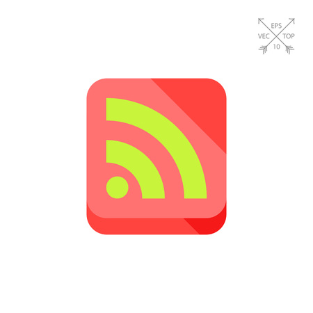 subscribing: Internet Feed Flat Icon Illustration
