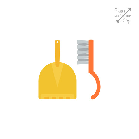 Dustpan and sweeping brush Illustration