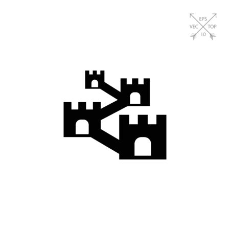 Vector icon of defensive wall with towers Stock Vector - 74648710