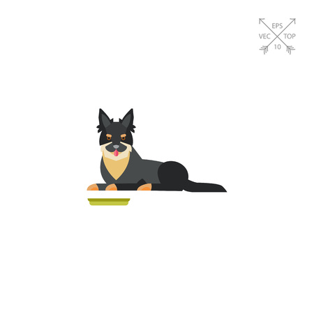 Icon of Bohemian Shepherd dog and his bowl. Dog, domestic animal, companion. Pet concept. Can be used for topics like dog breed, animals feeding