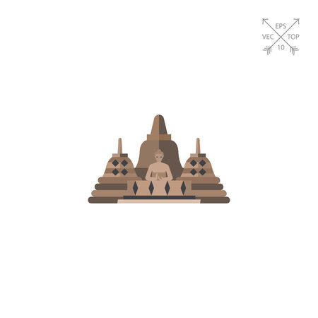 stupa: Vector icon of Borobudur. Indonesian landmark, buddhish temple, Indonesian culture. Indonesia concept. Can be used for topics like travel, architecture, religion