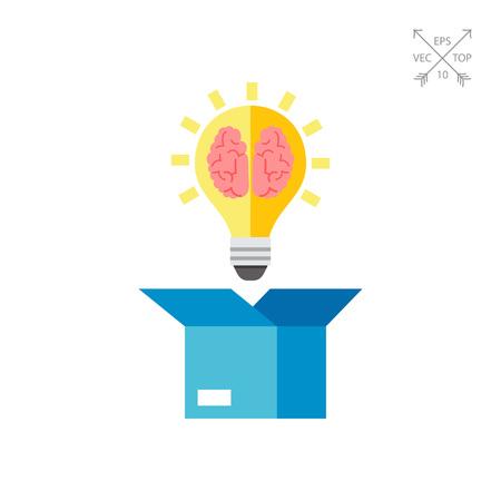 Box and Brain Vector Icon Illustration