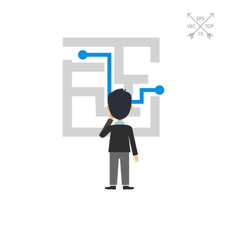 solved: Businessman at maze with solution icon Illustration