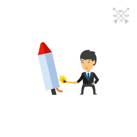 Businessman launching firework rocket icon