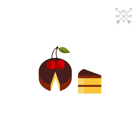 porcion de torta: Icono de Vector de Pastel y Piece Vectores