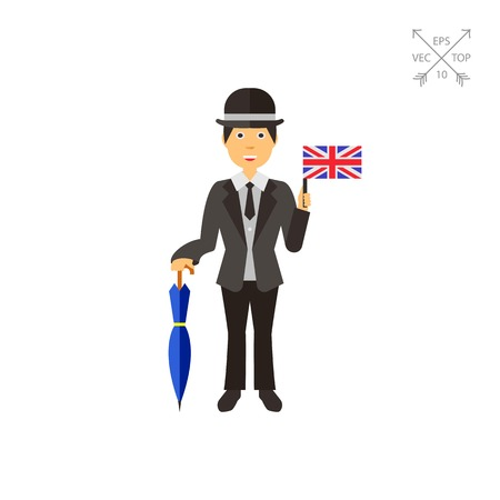 Cheerful Englishman in suit icon