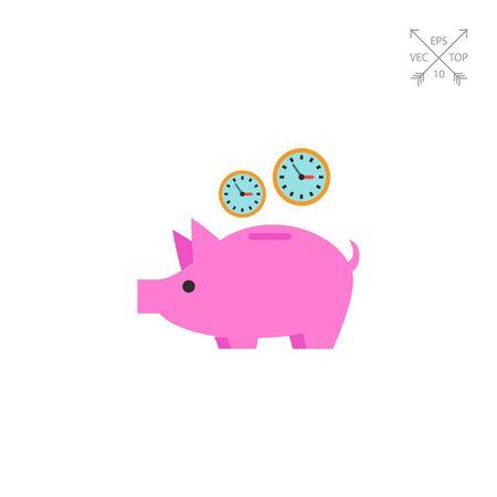 puntualidad: Reloj en el icono Piggy Bank Vectores