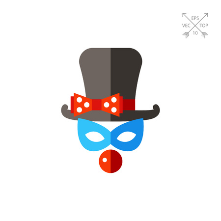 Clown mask with top hat and nose icon Illustration