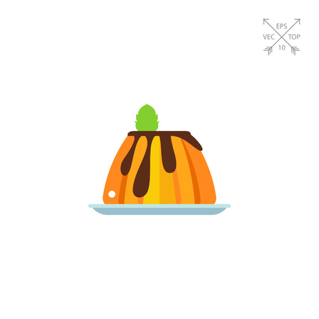 flan: Creamy caramel flan dessert with mint icon Illustration