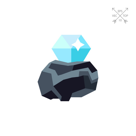 Diamond in rough vector icon