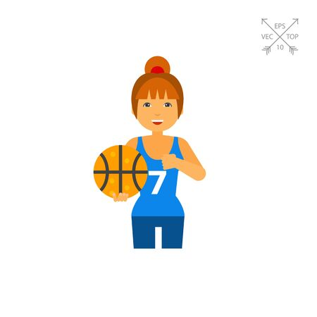 Female Basketball Player Vector Icon Illustration