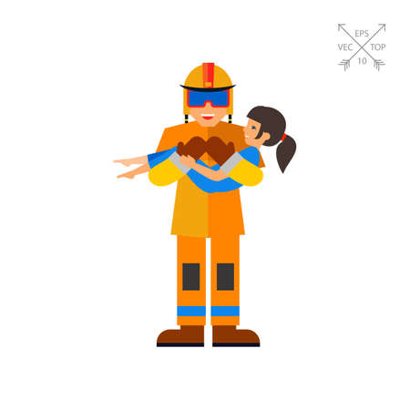 rescuing: Firefighter and Child Icon