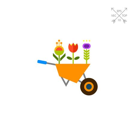 Flowers in wheelbarrow icon