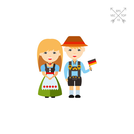 lederhosen: German couple in national dress icon Illustration