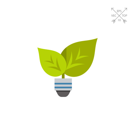 Green light with leafs and bulb icon Vectores