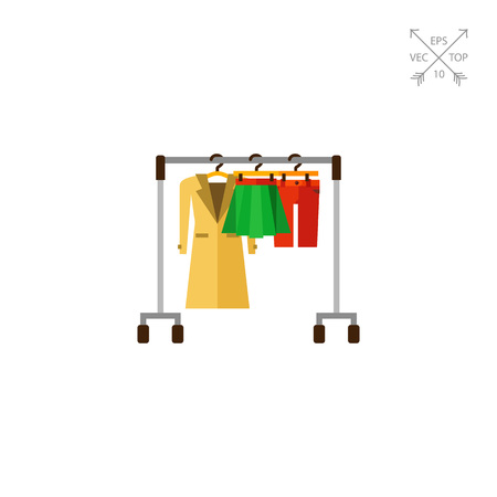 clothing rack: Hanger rack with warm women clothes icon