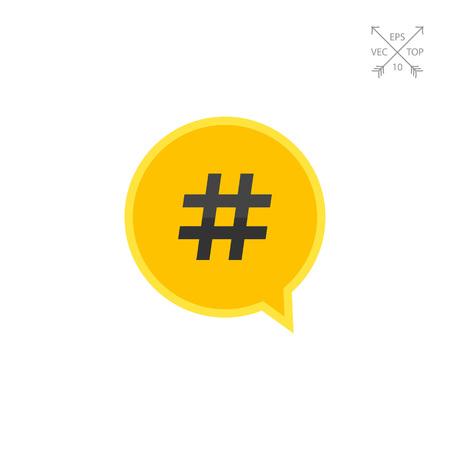 Hashtag symbol in dialogue cloud