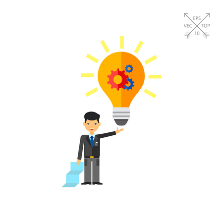 Illustration of businessman holding glowing light bulb with gear wheel. Creativity, business, idea and man. Creativity concept. Can be used for topics like business startup, business ideas, creativity