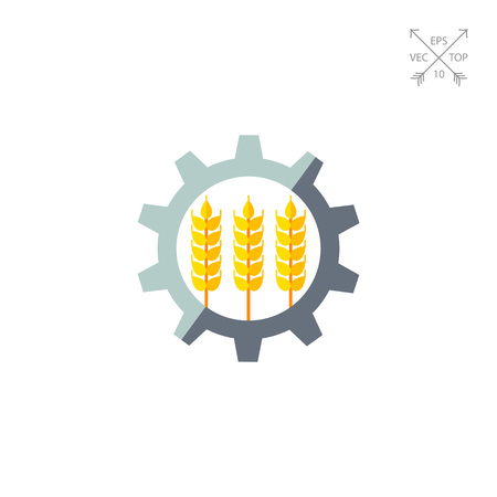 Icon of three wheat ears in gear. Industrialization, agricultural production, mechanism. Agriculture concept. Can be used for topics like farm, modernization, agribusiness or agriculture
