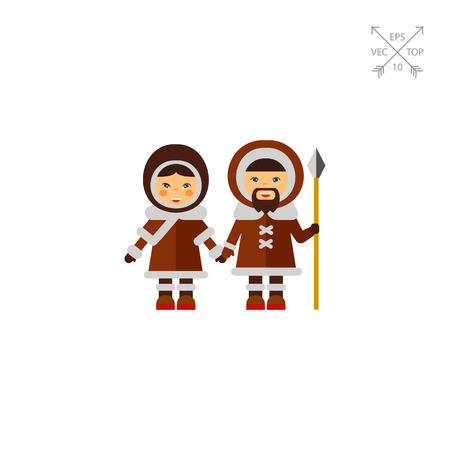 Inuit couple in national clothing icon. Canadian aborigines, national clothes, Inuit culture. Canada concept. Can be used for topics like tourism, regional geography, ethnic culture