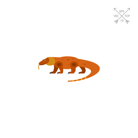 Vector icon of komodo dragon. Lizard, reptile, fauna. Indonesia and animal concept. Can be used for topics like Indonesian fauna, zoo, endangered species Illustration