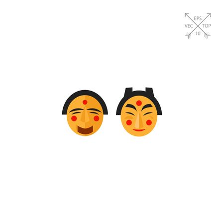 Icon of Korean traditional emotional masks. Carnival, celebration, masquerade, costume. Korea concept. Can be used for topics like culture, tradition, theatre or entertainment event