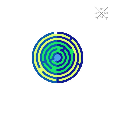 health symbols metaphors: Vector icon of top view of labyrinth of consciousness. Conscious mind, puzzle, solution. Psychoanalysis concept. Can be used for topics like mental health, personal psychology, decision making