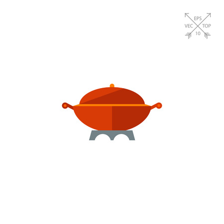 Multicolored vector icon of large cooking pot with handles and cover