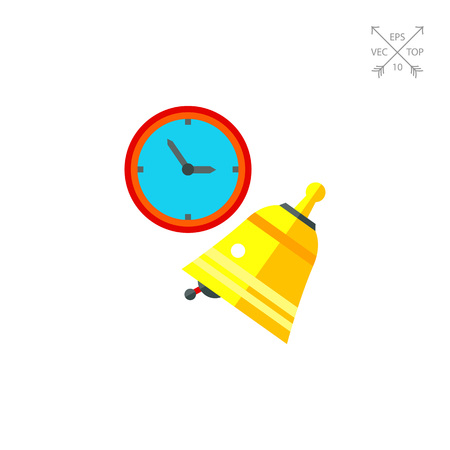 Clock and ringing golden bell. School, beginning, learning. Lesson concept. Can be used for topics like study, teaching, education.