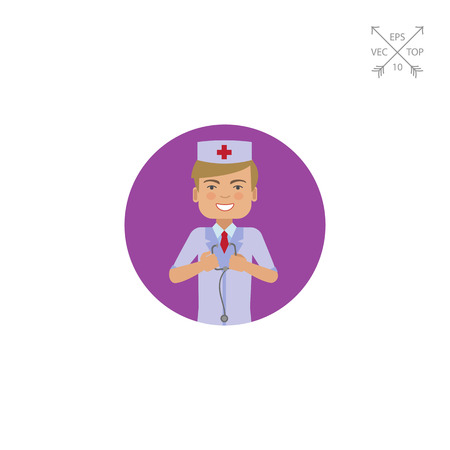 Male doctor holding stethoscope Ilustrace