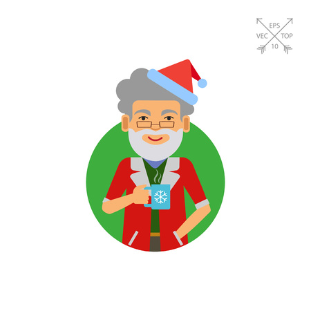 Man in Santa costume holding mug Illustration