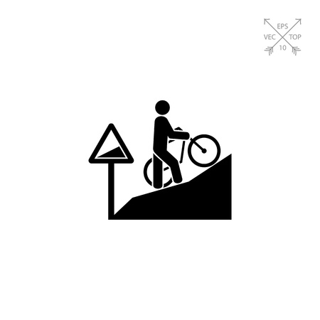 steep: Man Walking Uphill with Bicycle Icon