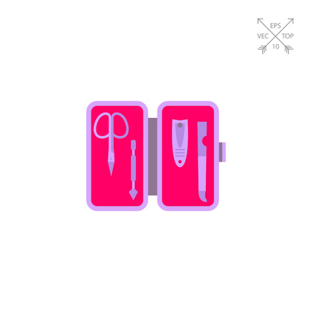 neatness: Icon of manicure set. Beauty, nailcare, tool. Manicure concept. Can be used for topics like pedicure, treatment or traveling