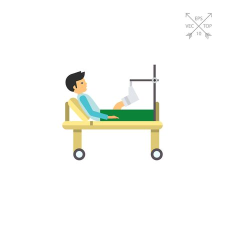 gurney: Man with broken leg lying on gurney. Hospital, plaster, pain. Fracture concept. Can be used for topics like medicine, health, healthcare. Illustration