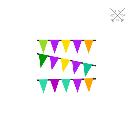 Vector icon of rows of colorful Mardi Gras garland. Fat Tuesday, holiday, party decoration.