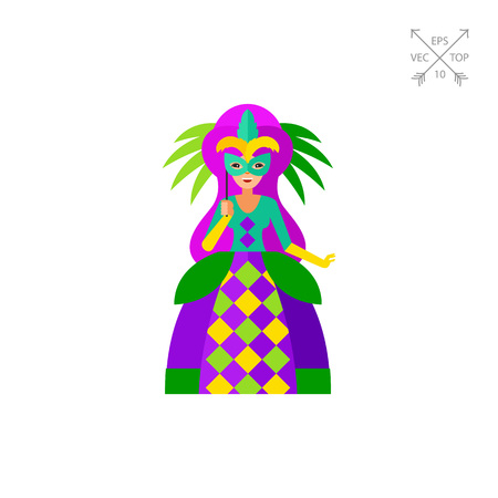 Mardi Gras queen wearing colorful dress holding mask. Fat Tuesday, carnival, celebration. Mardi Gras concept.