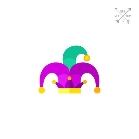 new orleans: Vector con of green and purple Mardi Gras jester hat. Carnival, masquerade, circus. Mardi Gras concept.