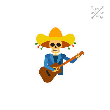 Multicolored vector icon of skeleton representing guitar player from Mariachi band