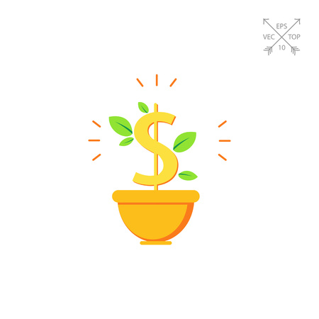 gaining: Money tree in pot Illustration