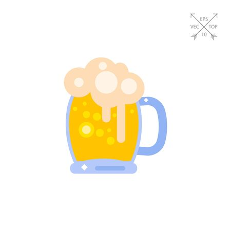 Mug of beer with foam vector icon Illustration