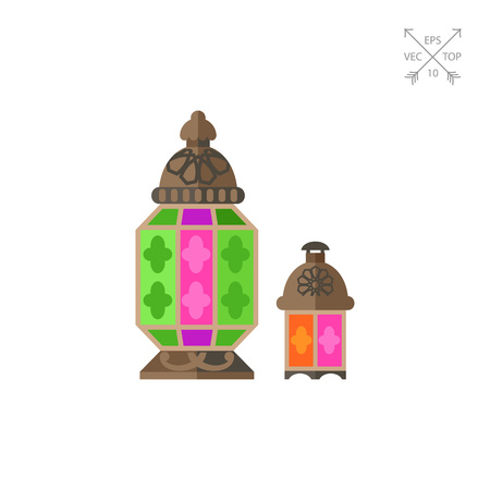 Vector icon of Moroccan lantern with colorful glasses. Arabic handicraft, souvenir, oriental culture. Morocco concept. Can be used for topics like bazaar, artisan products, travel Illustration