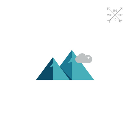 Multicolored vector icon of mountains and clouds Illustration